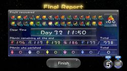Example of a completed zero death run in Pikmin 3.