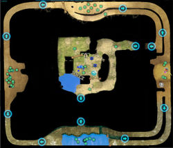 """Map of the """"Battle Enemies!"""" objective of the Beastly Caverns."""