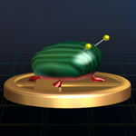 The Iridescent Flint Beetle trophy from Super Smash Bros. Brawl.