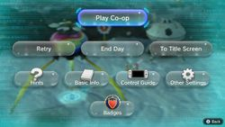 The pause menu in Pikmin 3 Deluxe.