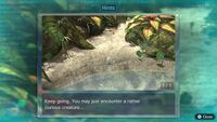 Page 1 of the first unique hint in the Tropical Wilds in Pikmin 3 Deluxe. This screenshot of the hint page should be replaced with the hint image itself when possible.