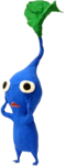 Artwork of a leaf-tip Blue Pikmin from Pikmin 2.