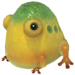 Render of a Yellow Wollywog in Pikmin 3.