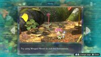 Page 2 of the second unique hint in the Twilight River in Pikmin 3 Deluxe. This screenshot of the hint page should be replaced with the hint image itself when possible.