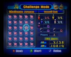 This is the level selection screen for Pikmin 2's Challenge Mode.