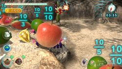 Purple Pikmin carrying a lot of fruit through the Thirsty Desert Remix.