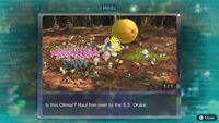 Page 1 of the sixth unique hint in the Twilight River in Pikmin 3 Deluxe. This screenshot of the hint page should be replaced with the hint image itself when possible.