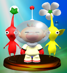 A trophy of Captain Olimar and two Pikmin.