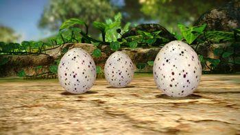A group of three nectar eggs.