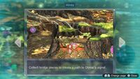 Page 2 of the fourth unique hint in the Twilight River in Pikmin 3 Deluxe. This screenshot of the hint page should be replaced with the hint image itself when possible.
