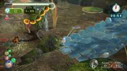 Screenshot of Twilight River Remix showing a Nectarous Dandelfly and a Dwarf Orange Bulborb.