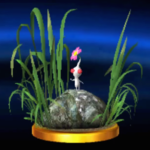The trophy for White Pikmin in Super Smash Bros. for Nintendo 3DS and Wii U, showing a Pikmin standing on a rock.