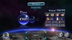 The day selection menu from Pikmin 3.