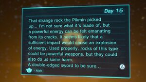The voyage log in Pikmin 3 Deluxe as seen at the end of the day results menu. (Interestingly, a bomb rock was not picked up or used on this day.)