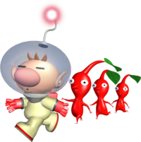 Captain Olimar guides three Red Pikmin in Pikmin.