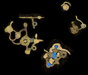 A map of the Formidable Oak as it appears in Pikmin 3 Deluxe. This was made by manually arranging the radar textures for each section of the area to align with :File:Formidable Oak map.png.