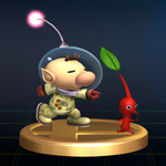Trophy of Captain Olimar and a Red Pikmin from Super Smash Bros. Brawl.