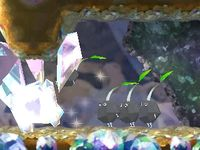 The Rock Pikmin introduction cutscene in Crystal Tunnels.