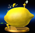 The trophy for Yellow Pikmin in Super Smash Bros. for Nintendo 3DS and Wii U, showing 3 Pikmin around a Face Wrinkler.