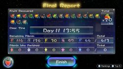 The Final Report menu in Pikmin 3 Deluxe, showing the results of a run with 20 fruits collected, 11 days taken, and 0 Pikmin deaths.