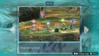 """Page 1 of the default """"Keep moving ahead"""" hint that appears many times in Pikmin 3 Deluxe. This screenshot of the hint page should be replaced with the hint image itself when possible."""