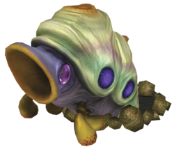Artwork of the Arctic Cannon Larva from Pikmin 3.