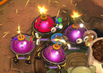 Four Bombardier Beebs in Pikmin Adventure.