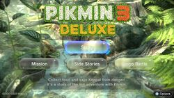 The main menu in Pikmin 3 Deluxe, in day lighting, with the cursor on Story.