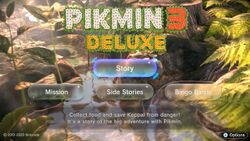 The main menu in Pikmin 3 Deluxe, in evening lighting, with the cursor on Story.