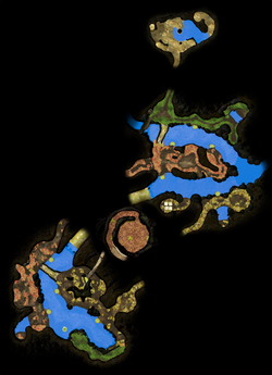 A map of the Twilight River as it appears in Pikmin 3 Deluxe. This was made by manually arranging the radar textures for each section of the area to align with :File:Twilight River map.png.