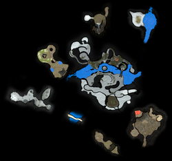 A map of the Distant Tundra as it appears in Pikmin 3 Deluxe. This was made by manually arranging the radar textures for each section of the area to align with :File:Distant Tundra map.png.