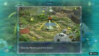 Page 1 of the first unique hint in the Garden of Hope in Pikmin 3 Deluxe. This screenshot of the hint page should be replaced with the hint image itself when possible.