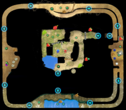 """The full map of the """"Collect Treasure!"""" mode of Beastly Cavern."""