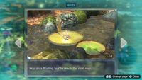 Page 1 of the fourth unique hint in the Twilight River in Pikmin 3 Deluxe. This screenshot of the hint page should be replaced with the hint image itself when possible.