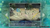 Page 1 of the special hint that appears to explain 2-player controls in Pikmin 3 Deluxe. This screenshot of the hint page should be replaced with the hint image itself when possible.
