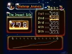 Conclusion of a The Impact Site Challenge Mode run. Screenshot taken from this video, by Rouge7.
