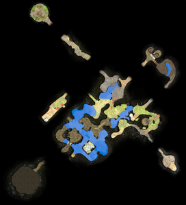 A map of the Garden of Hope as it appears in Pikmin 3 Deluxe. This was made by manually arranging the radar textures for each section of the area to align with :File:Garden of Hope map.png.