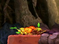 The Pikmin pulling cutscene in Peculiar Rockfall.