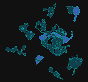 A map of the Distant Tundra as it appears on the mini radar in Pikmin 3 Deluxe. This was made by manually arranging the textures for each section of the area to align with the corresponding radar map.