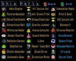 A screenshot from the end of Pikmin 1 showing all 30 Ship parts.
