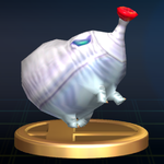 The Fiery Blowhog trophy from Super Smash Bros. Brawl.